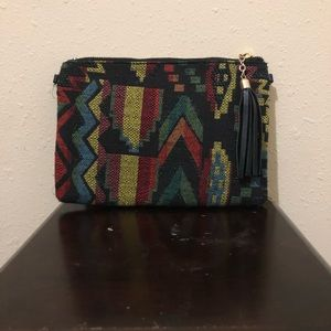 Handbags - Multi-Colored Aztec Clutch